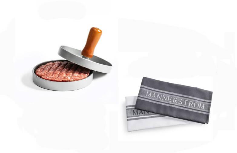 mannerström Hamburgerpress med kökshanddukar